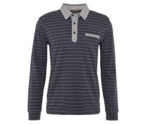 Poloshirt, Langarm, Streifen, Blau