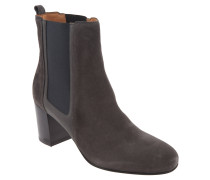 Chelsea Boots, Veloursleder, Blockabsatz, Grau