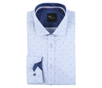 Businesshemd, Punkte-Muster, Baumwolle, bügelfrei, Blau