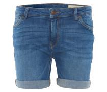 Shorts, Denim, Umschlagsaum, Emblem, leichte Waschung, Blau