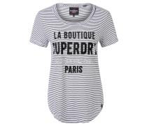 T-Shirt, Streifen, Print, Schwarz