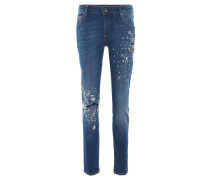 "Jeans ""Masha"", Relaxed Fit, Used-Optik, Strass, Blau"