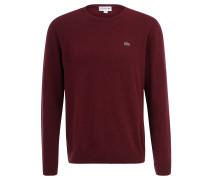 Pullover, gerippt, reine Merino-Wolle, für Herren, Rot