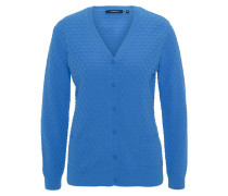 Strickjacke, V-Ausschnitt, All over-Muster, reine Baumwolle, Blau
