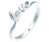 Ring Love-schriftzug Diamant 0.03 Ct. 585 Gold