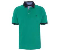 Poloshirt, Logo-Stickerei, einfarbig, Grün