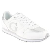 Sneaker, Glitzer-Details, Marken-Logo, Schnürung, Weiß
