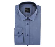 Businesshemd Black Label, Slim Fit, gemustert, Blau