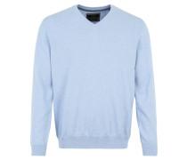 Pullover, Feinstrick, Baumwolle, V-Ausschnitt, Blau
