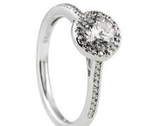 Ring, mit großem Zirkonia, Silber
