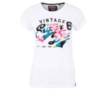 T-Shirt, meliert, Print, Rundhalsausschnitt, Weiß
