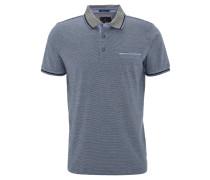 Poloshirt, gestreift, Brusttasche, Baumwolle, Blau
