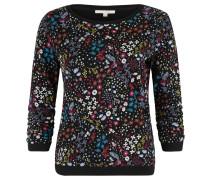 Sweatshirt, floraler Print, geraffte Ärmel, Schwarz