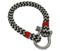 Armband, Seil,  / weiß / rot, 21 cm