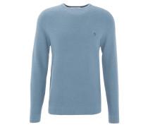 Pullover, Ripp-Optik, Logo-Stickerei, Baumwolle, Blau