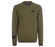 Sweatshirt, Ripp-Bündchen, Material-Mix, für Herren, Oliv