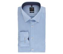 Businesshemd, Body Fit, Kent-Kragen, fein gemustert, Blau