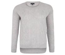 Pullover, Zopfstrickmuster, High-Low-Saum, Grau