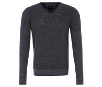 Pullover, Strick, reine Baumwolle, Brusttasche, Blau