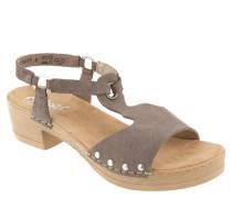 Sandaletten, Veloursleder, Sohle in Holzoptik, Nieten
