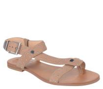 Sandale, Leder, Nieten, Schnalle, Beige