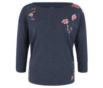 Shirt, 3/4-Arm, florale Stickereien, meliert, Blau