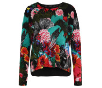 "Pullover ""Hawaii"", floraler All-Over-Print, Schwarz"