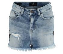 Jeans-Shorts, High Waist, Print, ausgefranster Saum