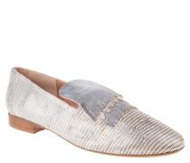 "Loafer ""Grant"", strukturiertes Leder, Haferlaschen, Silber"
