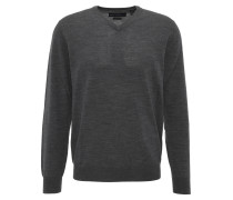 Pullover, V-Ausschnitt, Wolle, Grau