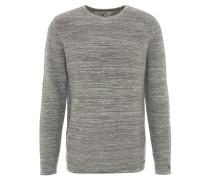 Pullover, meliert, Baumwolle, Rundhals, Rollsaum, Grün