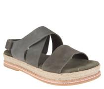 Sandaletten, Leder, Klettverschluss, Bast-Sohle, Oliv