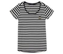 T-Shirt, Streifen, Emblem, Rundhals, Schwarz