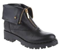 Stiefel, Reißverschluss, Leder, griffige Sohle, Schwarz
