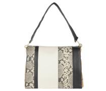 Handtasche, Schlangenleder-Optik, gold, Leder, Streifen, Mehrfarbig
