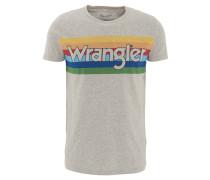 T-Shirt, mehrfarbiger Marken-Print, Rundhals, Baumwoll-Mix, Grau