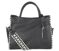 Handtasche, einfarbig, Leder, Innentaschen, breiter Umhängeriemen, Schwarz