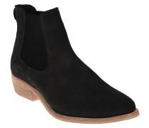 Chelsea Boots, Veloursleder, Holz-Optik, Schwarz