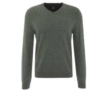 Pullover, meliert, V-Ausschnitt, Emblem, Rippbündchen, Oliv