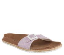 "Pantoletten ""Madrid"", Bast-Besatz, Kork-Fußbett, Textil-Riemen, Lila"