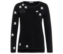 Pullover, Sternen-Muster, Metallic-Fäden, Schwarz
