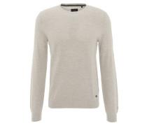 Pullover, uni, Metall-Emblem, Baumwolle, Beige
