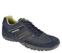 Sneaker, Materialmix, Leder-Blenden, Ziernähte, Blau