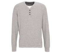 Pullover, meliert, Lagenoptik, Knopfleiste, Grau