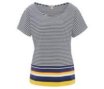 T-Shirt, Streifen, Brusttasche, Baumwoll-Stretch, Gelb