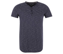"T-Shirt ""Grandad"", Ringel-Look, halbe Knopfleiste, Blau"
