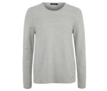 Pullover, Strickmuster, Rollsaum, Seitenschlitze, Grau
