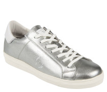 Sneaker, Metalic-Look, Leder, Silber
