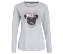 Langarmshirt, Mops-Print, Strass, tailliert, Grau