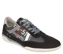 Sneaker low, Leder-Canvas-Mix, schlanker Schnitt, Schwarz